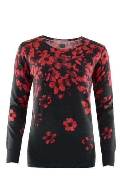 Da.-Pullover Floral-Print
