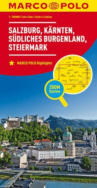 Regionalkarte A02 Salzburg,Kärnten,Steiermark 1:200.000
