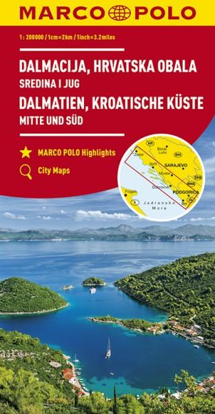 Regionalkarte HR Dalmatien, Kroat. Küste 1:200.000