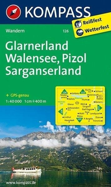 Wanderkarte126 Glarnerland-Walensee 40T