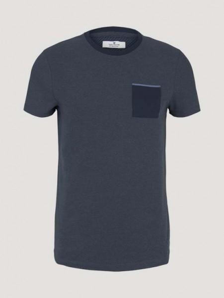 strukturiertes T-Shirt mit Brusttasche