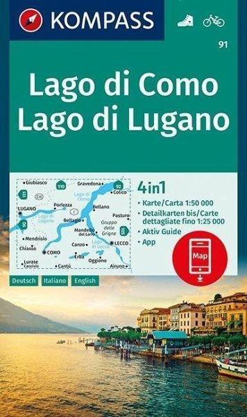 Wanderkarte 91 Lago di Como/Lago di Lugano