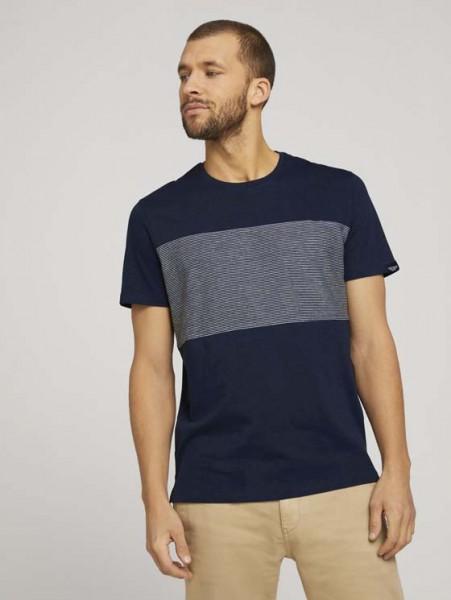 T-shirt mit gestreiftem Einsat